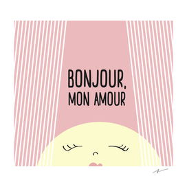 Bonjour Mon Amour Pink #babygirl #nursery #illustration