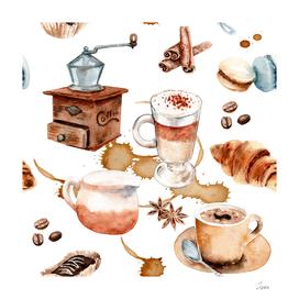 watercolor drawings coffee set