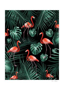 Tropical Flamingo Night Pattern #1