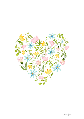 Spring Flower Watercolor Illustration Pattern