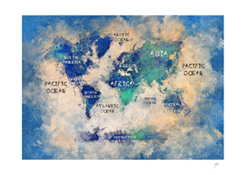 world map oceans and continents watercolor
