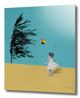 girl playing with the wind