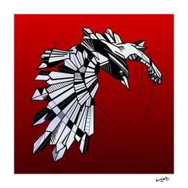 Geometric Raven flying