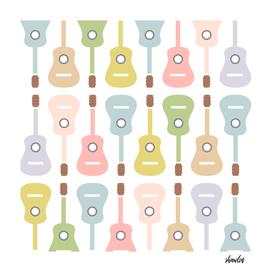 Pastel colored guitars