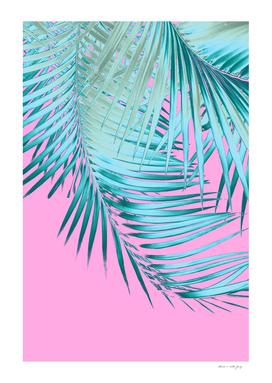 Palm Leaves Pink Blue Vibes #1 #tropical #decor #art