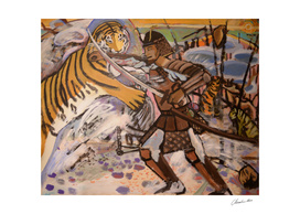 Korean Tiger Fights The Japanese Samurai