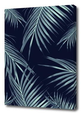 Navy Blue Palm Leaves Dream #1 #tropical #decor #art