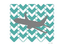 Airplane - geometric pattern - blue and white.