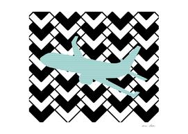 Airplane - geometric pattern - blue, black and white.