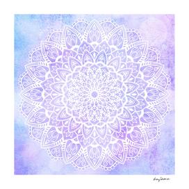 White Mandala on Pastel Purple and Blue Textured Background