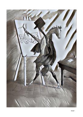 Horse Artist Brown & Gray