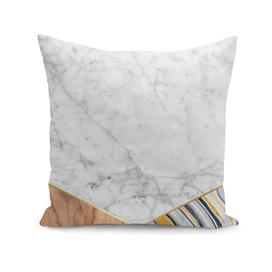 Geometric White Marble - Wood & Blue Marble #782