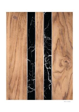 Striped Wood Grain Design - Black Granite #175