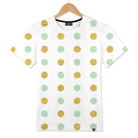 Circular Dalmatian Spots - Mint Green & Gold Foil #409