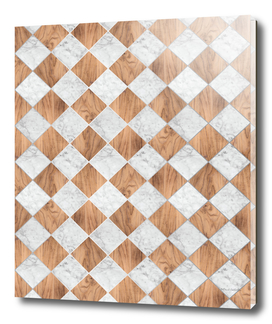 Cubic - Wood & White Marble #892