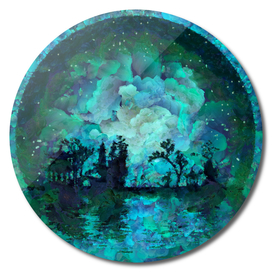 Asian moon silhouettes - Oil painting