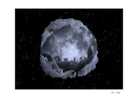 Full moon night city