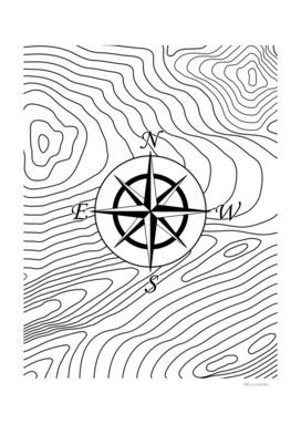 Topographic Line Pattern with Compass #797