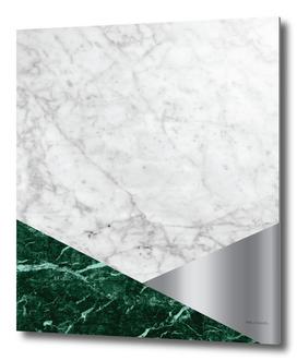 Geometric White Marble - Green Granite & Silver #999