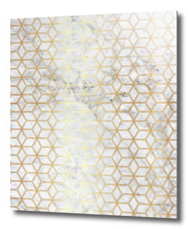 Geometric Hive Mind Pattern - Marble & Gold #510