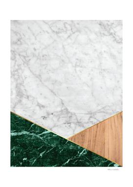 White Marble - Green Granite & Wood #138