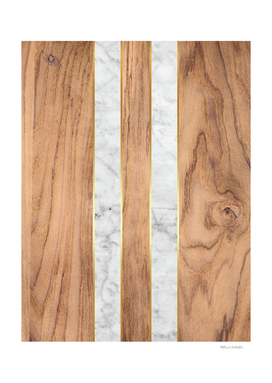 Wood Grain Stripes - White Marble #497