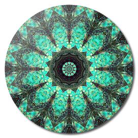 Turquoise grunge mandala