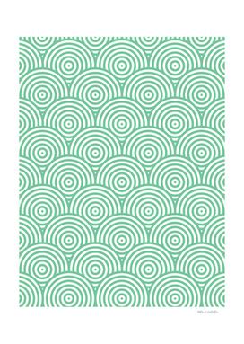 Geometric Scales Pattern - Green & White #353