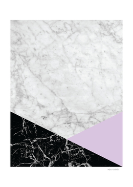Geometric White Marble - Black Granite & Light Purple #388
