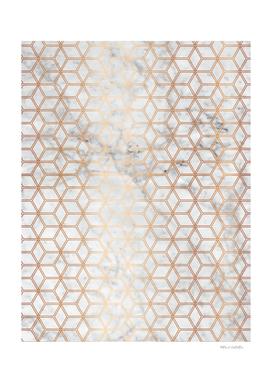 Geometric Hive Mind Pattern - Marble & Rose Gold #789