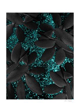 Black Cacti on Aqua Blue Glitter #1 #shiny #decor #art