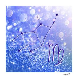 Virgo Zodiac Geometric Glitter Constellation Design