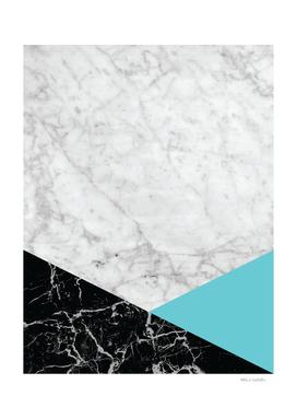 White Marble - Black Granite & Teal #871
