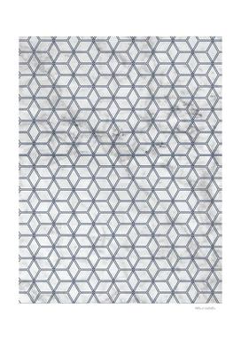 Geometric Hive Mind Pattern - Marble & Navy #381