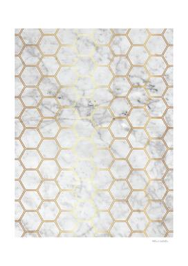Geometric Honeycomb Pattern - Marble & Gold #767
