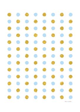 Circular Dalmatian Spots - Blue & Gold Foil #447