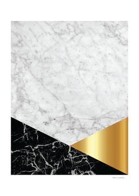 White Marble - Black Granite & Gold #944