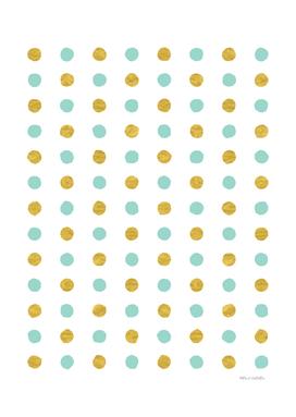 Circular Dalmatian Spots - Sea Foam & Gold Foil #622