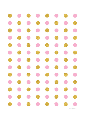 Circular Dalmatian Spots - Pink & Gold Foil #230
