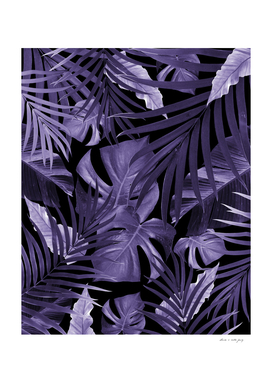 Tropical Jungle Night Leaves Pattern #4 Ultra Violet