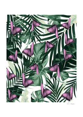 Tropical Butterfly Jungle Leaves Pattern #2 #tropical #decor