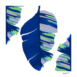 Elegant Bold Blue Tropical Banana Leaves Design
