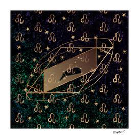Leo Golden Zodiac Constellation Design
