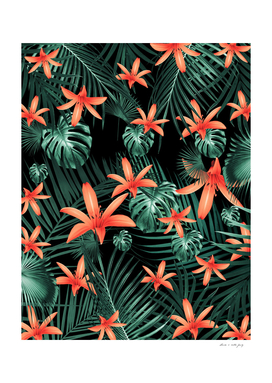 Tropical Flowers & Leaves Jungle Night #1 #tropical #decor