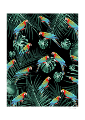 Parrots in the Tropical Jungle Night #2 #tropical #decor