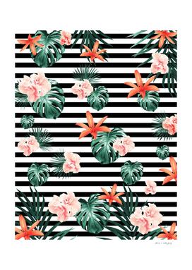 Tropical Florals & Foliage on Stripes #1 #decor #art