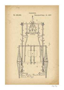 1887 Patent Velocipede Tricycle Bicycle history invention