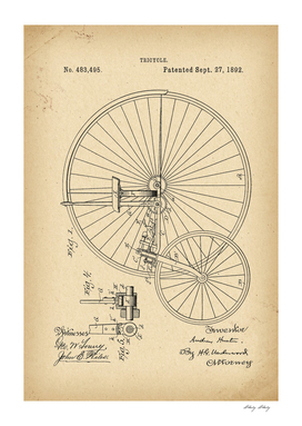 1892 Patent Velocipede Tricycle Bicycle history invention