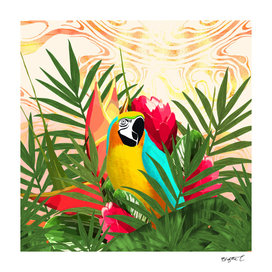 Parrot Tropical Bouquet Golden Marble