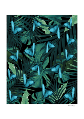 Tropical Butterfly Jungle Night Leaves Pattern #5 #tropical